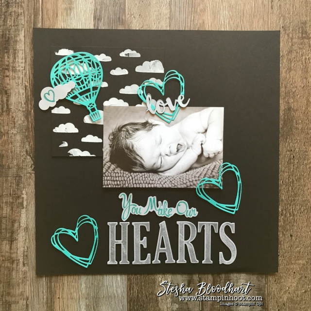 Scrapbook Sunday 12x12 Layout - You Make Our Hearts Soar Up & Away and Sunshine Wishes Thinlits Dies by Stampin' Up! #stampinup #hotairballoon #hearts #sunshinewishes #upandaway #scrapbooklayout #scrapbook #scrapbookpages #steshabloodhart #scrapbooksunday