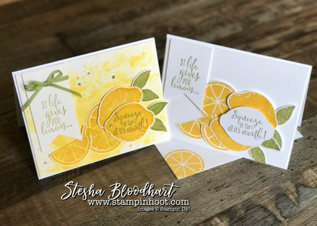 Lemon Zest Bundle by Stampin' Up! for Hoot N' Easy Friday at Stampin' Hoot! Stesha Bloodhart #stampinup #lemonzest #papercrafting #cardmaking #stamping #lemons #watercolor