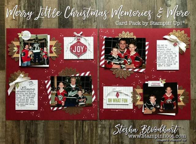 Merry Little Christmas Memories and More Card Packs 12x12 Scrapbook Layout for Scrapbook Sunday by Stesha Bloodhart, Stampin' Hoot! #scrapbooksunday #memoriesandmore #merrylittlechristmas #stampinup #foilsnowflakes #scrapbooklayout #papercrafts