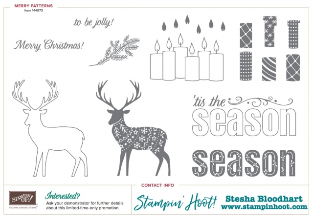 Merry Patterns Stamp Set by Stampin' Up! Item 144973 Free with $300 Online Purchase or Party Order #stampinup #cardmaking #stampset #merrypatterns