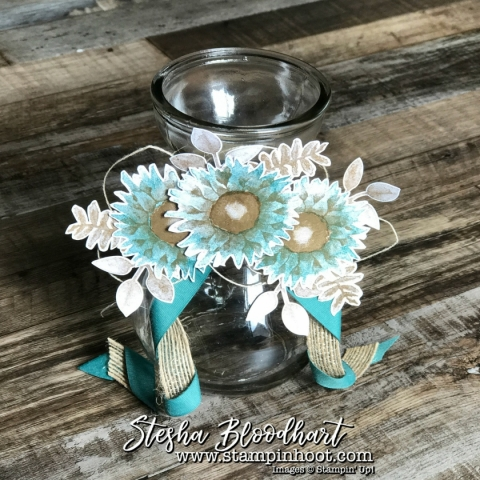 Painted Harvest Sunflower Vases for 3-D Thursday on Stampin' Hoot! Stesha Bloodhart Fresh Fig and Tranquil Tide #3dthursday #stampinup #steshabloodhart #paintedharvest #sunflowers #decoratedvases #papercrafts