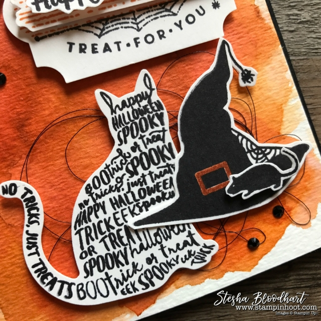 Spooky Cat Bundle from the Stampin' Up! 2017 Holiday Catalog takes the stage for the Remarkable InkBig Blog Hop - September 2017 Halloween Theme, Details at Stampin' Hoot! Created by Stesha Bloodhart #stampinup #2017holidaycatalog #spookycatbundle #spookycat #watercolor #halloweencard #papercrafts #cardmaking