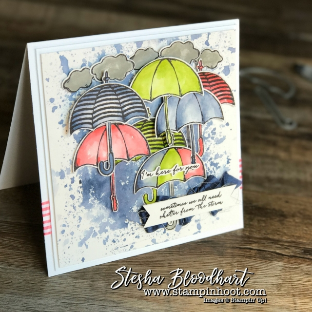 Weather Together Stamp Set and Umbrella Weather Framelits Dies by Stampin' Up! for Kylie's International Blog Highlights September 2017, see details at Stampin' Hoot! Stesha Bloodhart #stampinup #weathertogether #umbrellaframelits #sympathycard #umbrellas #watercolor #cardmaking #papercrafts #demonstrator