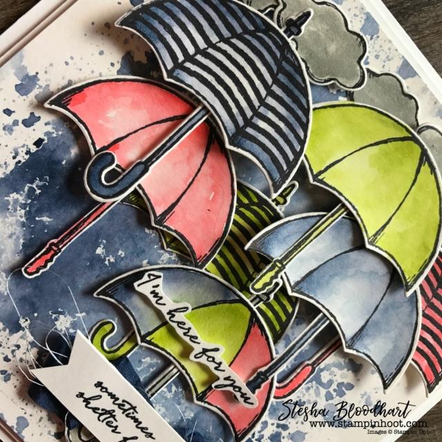 Weather Together Stamp Set and Umbrella Weather Framelits Dies by Stampin' Up! for Kylie's International Blog Highlights September 2017, see details at Stampin' Hoot! Stesha Bloodhart #stampinup #weathertogether #umbrellaframelits #sympathycard #umbrellas #watercolor #cardmaking #papercrafts #demonstrator