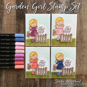 Garden Girl Stamp Set by Stampin' Up! is a great stamp set to pair with the new Stampin' Blends Premier Alcohol Markers Available November 1st, 2017 See Details at Stampin' Hoot! Stesha Bloodhart #stampinhoot #steshabloodhart #stampinblends