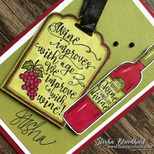 Half Full Stamp Set by Stampin' Up! for my 3-D Thursday Blog Feature - Christmas Wine Gift Tag #stampinhoot #steshabloodhart #halffull
