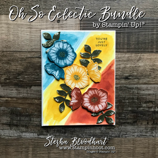 Oh So Eclectic Bundle by Stampin' Up! for a Tri-Color Watercolor from Stampin' Hoot! Stesha Bloodhart #stampinhoot #steshabloodhart #ohsoeclectic