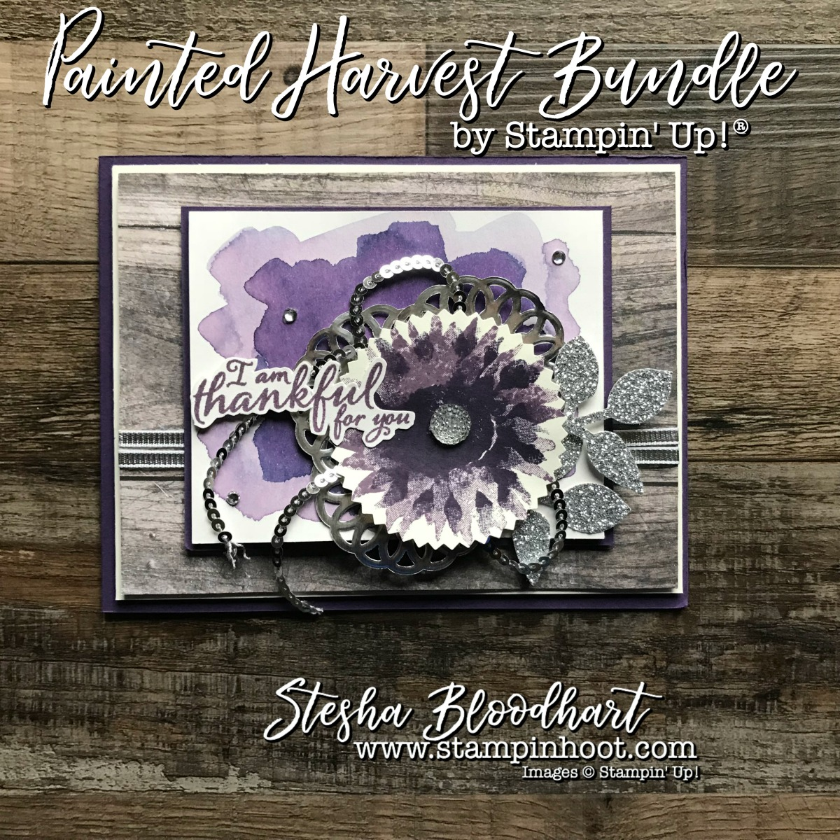 Painted Harvest Bundle by Stampin' Up! Takes a Spin with Elegant Eggplant and Sparkly Silver. Details at Stampin' Hoot! Stesha Bloodhart #paintedharvest #eleganteggplant