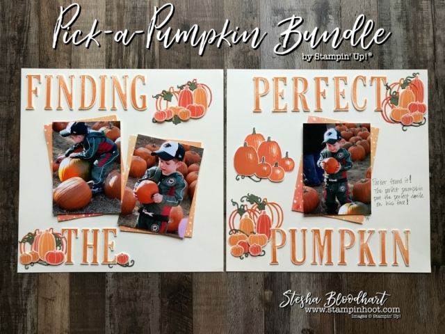 Pick A Pumpkin Scrapbook Page for Global Design Project 111 Theme : Family Time #scrapbooklayout #pickapumpkin #steshabloodhart #stampinhoot #gdp111