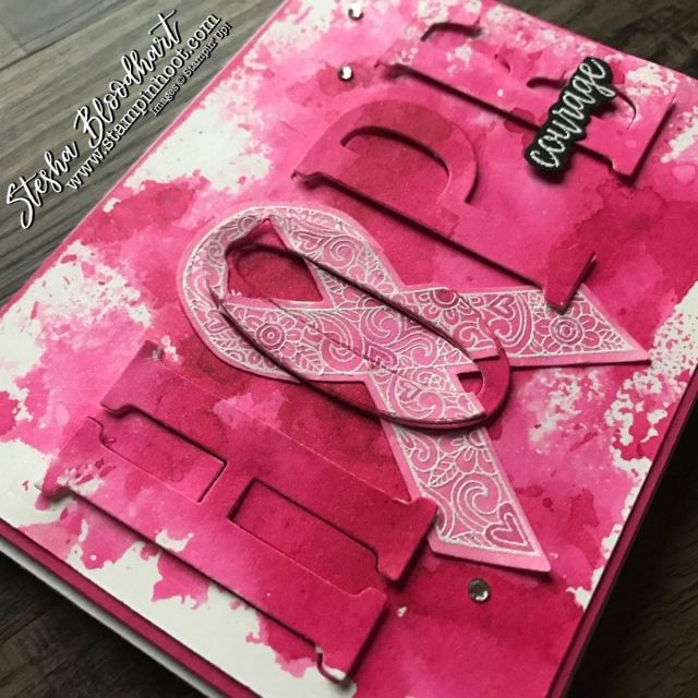 Ribbon of Courage Bundle by Stampin' Up! for 2nd Annual Pink Ribbon Breast Cancer Awareness Blog Hop. See details at Stampin' Hoot! Stesha Bloodhart #pinkribbon #breastcancerawareness #stampinup #ribbonofcourage #handmadecard #watercolor #hope
