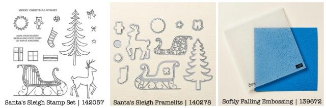 Santa's Sleigh Stamp Set, Santa's Sleigh Framelits Dies, Gently Falling Embossing Folder #steshabloodhart #stampinhoot