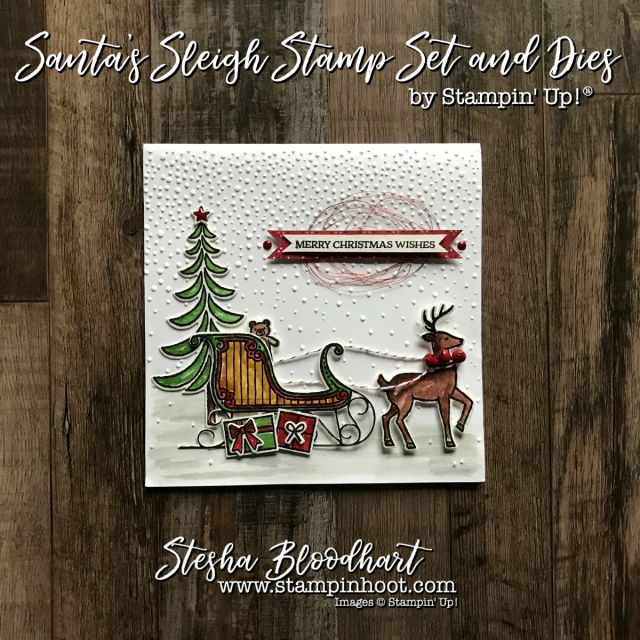 Santa's Sleigh Photopolymer Stamp Set and Coordinating Thinlits Dies by Stampin' Up! for a Look Back at Stampin' Hoot! Stesha Bloodhart #stampinhoot #christmascard #santassleigh #papercrafts #christmas