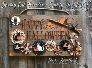 Spooky Cat Bundle Paired with Spooky Night Designer Series Paper by Stampin' Up! for the Creative Circle October 2017 Blog Hop - Haunted Halloween. Details at Stampin' Hoot! Stesha Bloodhart #stampinup #spookycat #spookynightdsp #stampinhoot #steshabloodhart #halloweendecor #papercrafts #halloween