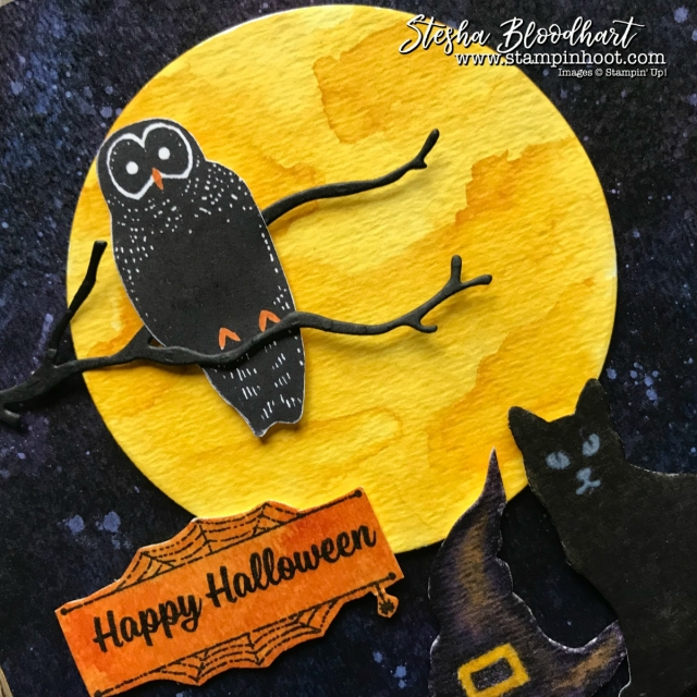 Spooky Cat Bundle from the Stampin' Up! 2017 Holiday Catalog for the Stamp Review Crew Blog Hop, Details at Stampin' Hoot! Created by Stesha Bloodhart #stampinup #2017holidaycatalog #spookycatbundle #spookycat #watercolor #halloweencard #papercrafts #cardmaking