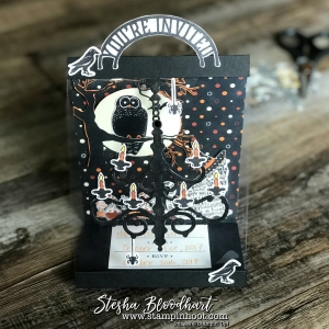 Spooky Night Suite for a Wicked Folds Halloween Easel Shaped Invitation by Stesha Bloodhart Stampin' Hoot! For Pals October 2017 Blog Hop #palsbloghop #stampinup #halloween #halloweeninvitation #papercrafts #cardmaking #stamping #spookynight #catpunch #owl
