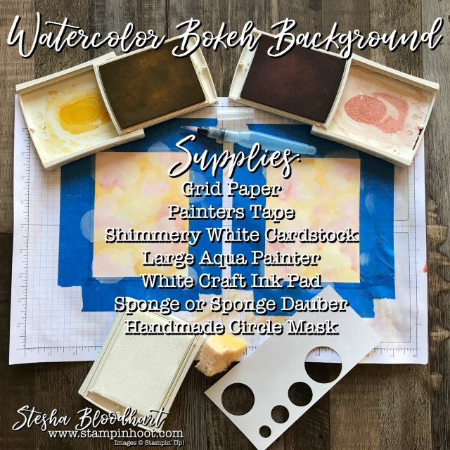 Watercolor & Bokeh Background for Stamp Review Crew Blog Hop Featuring Beatuiful You - Supplies Needed, Details at Stampin' Hoot! #watercolor #bokeh #stampinup #stampinhoot
