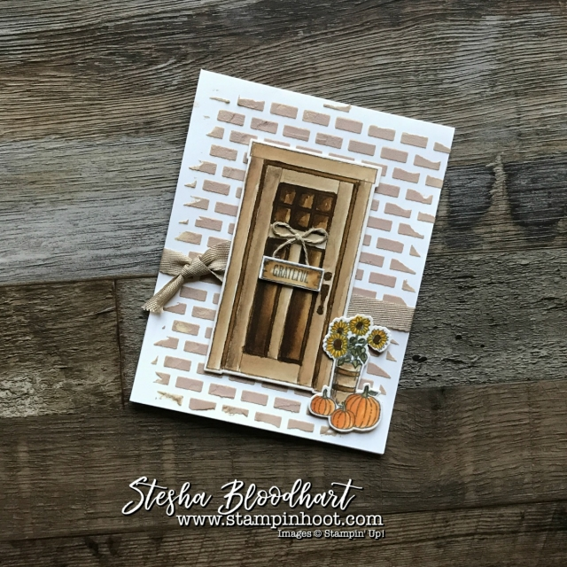 At Home With You Bundle Autumn Scene and Grateful Sign by Stampin' Hoot! Stesha Bloodhart #stampinup #stampinhoot #steshabloodhart
