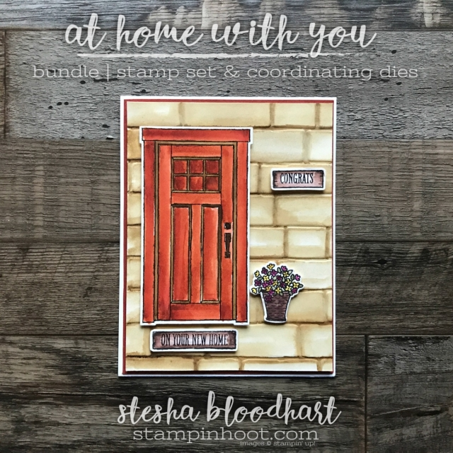 At Home With You Bundle by Stampin' Up! was used to create a Congrats on Your New Home Card by Stesha Bloodhart, Stampin' Hoot! #steshabloodhart #stampinhoot