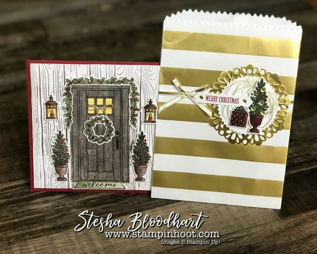 At Home With You Bundle by Stampin' Up! Creates a Cute Christmas Card and Gift Bag by Stesha Bloodhart, Stampin' Hoot! #steshabloodhart #stampinhoot #athomewithyou #christmascard