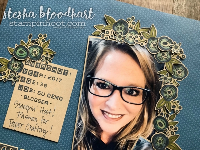Perennial Birthday Stamp Set from the Stampin' Up! 2018 Occasions Catalog Available January 3, 2018 from Stampin' Hoot! Stesha Bloodhart #stampinhoot #steshabloodhart #perennialbirthday #scrapbookpage #displaystamperbloghop