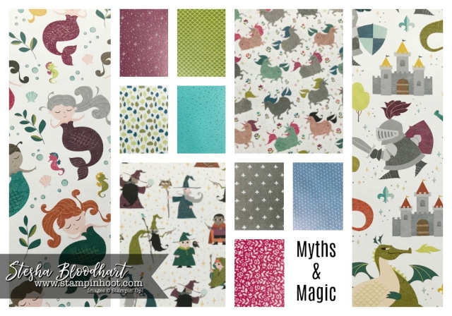 Myths & Magic Specialty Designer Series Paper from the 2018 Occasions Catalog Available January 3rd, 2018 #2018occasionscatalog #mythsandmagic #steshabloodhart #onstage2017 #stampinhoot #displaystamper