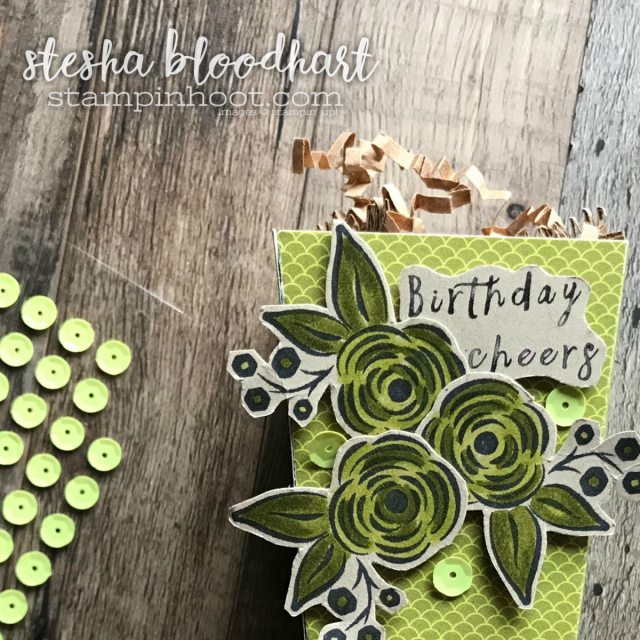 Perennial Birthday Stamp Set from the 2018 Occasions Catalog for the Display Stampers Blog Hop. Popcorn Box Created by Stesha Bloodhart, Stampin' Hoot! #steshabloodhart #stampinhoot