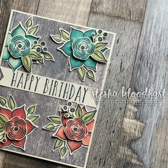Perennial Birthday Stamp Set and Wood Textures DSP for the Display Stampers Blog Hop - 2018 Occasions Catalog. Card created by Stesha Bloodhart, Stampin' Hoot! #steshabloodhart #stampinhoot
