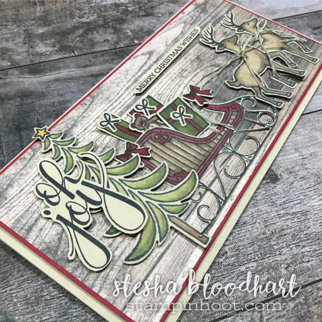 Santa's Sleigh Photopolymer Stamp Set and Coordinating Framelits for Global Design Project 115 Theme Challenge, Christmas Joy. Card created by Stesha Bloodhart, Stampin' Hoot! #gdp115 #steshabloodhart #stampinhoot #santassleigh