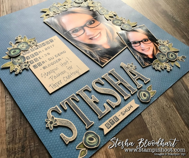 Perennial Birthday Stamp Set from the Stampin' Up! 2018 Occasions Catalog Available January 3, 2018 from Stampin' Hoot! Stesha Bloodhart #stampinhoot #steshabloodhart #perennialbirthday #scrapbookpage