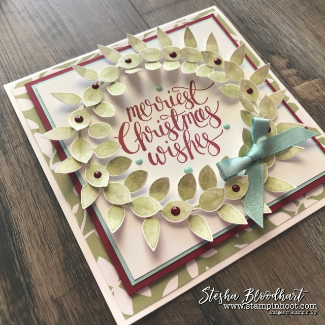 Watercolor Christmas Stamp Set and Leaf Punch by Stampin' Up! Create a Beautiful Christmas Wreath Card for GDP113 Color Challenge. Created by Stesha Bloodhart, Stampin' Hoot! #GDP113 #steshabloodhart #stampinhoot