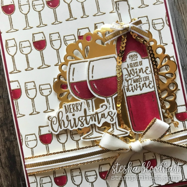 Half Full Christmas Card for #tgifc136 Color Challenge tgifchallenges.com #steshabloodhart #stampinhoot