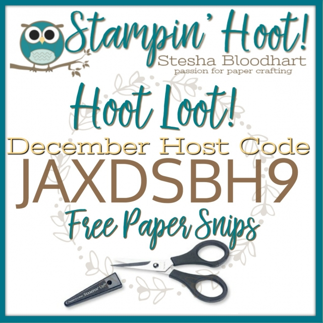 Free December 2017 Hoot Loot Paper Snips by Stampin' Up! Order $50+ and enter host code to review your free hoot loot from Stesha Bloodhart, Stampin' Hoot!  #stampinhoot #steshabloodhart #hootloot