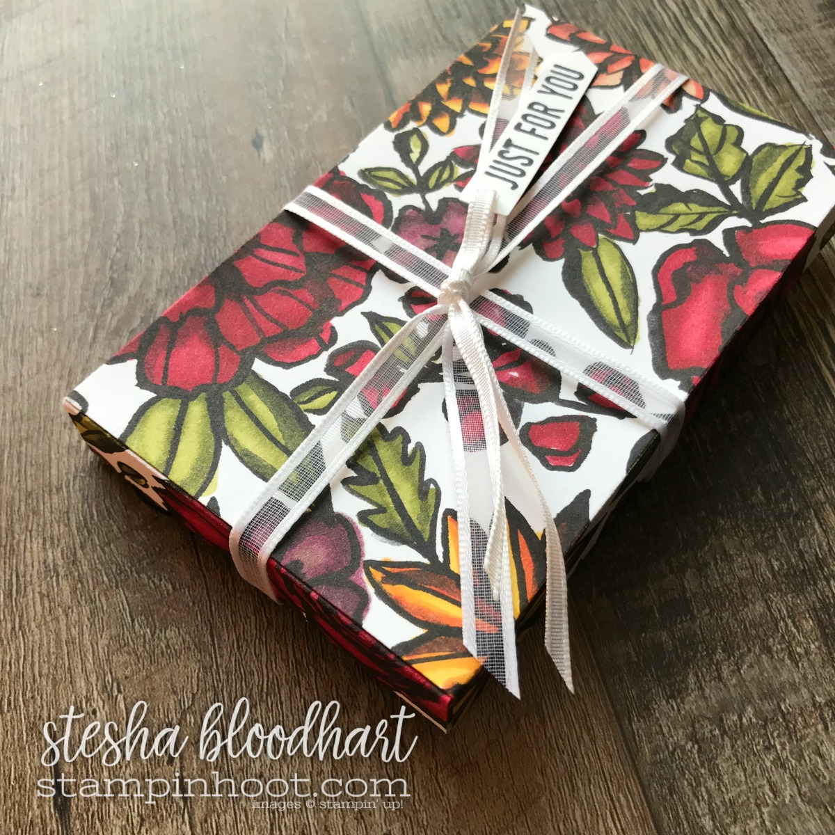 Petal Passion Designer Series Paper Colored with Stampin' Blends Premier Alcohol Markers. Box Created with Lots to Love Box Framelits Dies. #stampinhoot #steshabloodhart #lotstolove #petalpassion #stampinblends