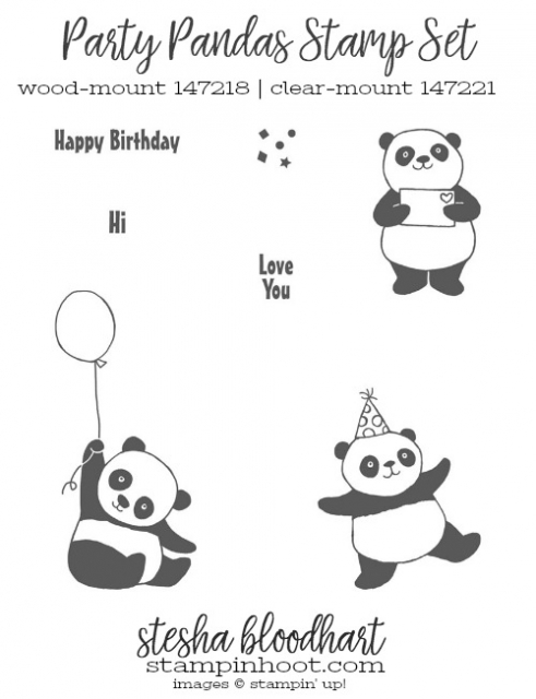 Party Pandas Stamp Set by Stampin' Up! from the 2018 Sale-a-Bration Catalog
