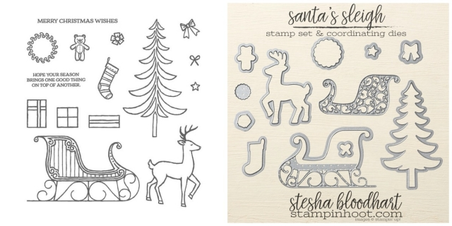 Santa's Sleigh Stamp Set and Coordinating Framelits Dies Shop Online at Stampin' Hoot! #steshabloodhart #stampinhoot #shoponline