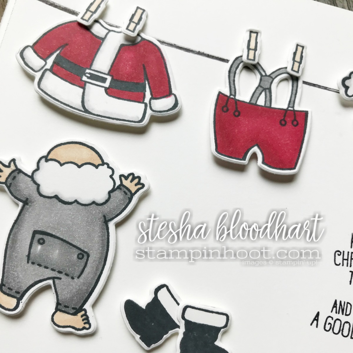 Santa's Suit Photopolymer Bundle by Stampin' Up! Retiring 2017 Holiday Catalog January 2, 2018 Card Created for TGIFC Last Minute Santa by Stesha Bloodhart, Stampin' Hoot! #tgifc139 #steshabloodhart #stampinhoot