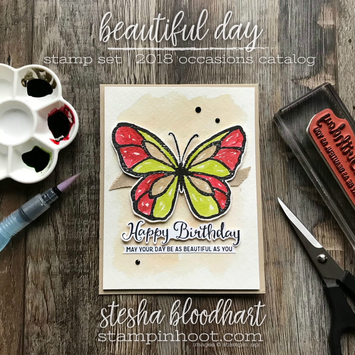 Beautiful Day Stamp Set from Stampin' Up! 2018 Occasions Catalog for GDP117 Color Challenge #gdp117 #steshabloodhart #stampinhoot #beautifulday