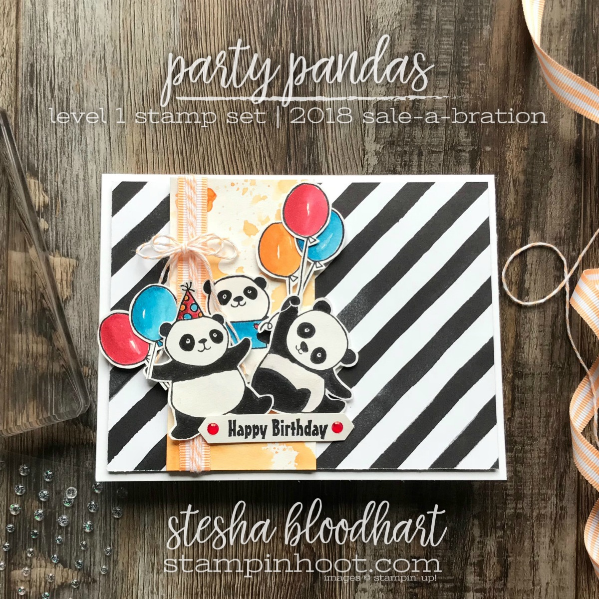 Party Pandas Level 1 Sale-A-Bration Stamp Set by Stampin' Up! Birthday Card created by Stesha Bloodhart, Stampin' Hoot! #steshabloodhart #stampinhoot