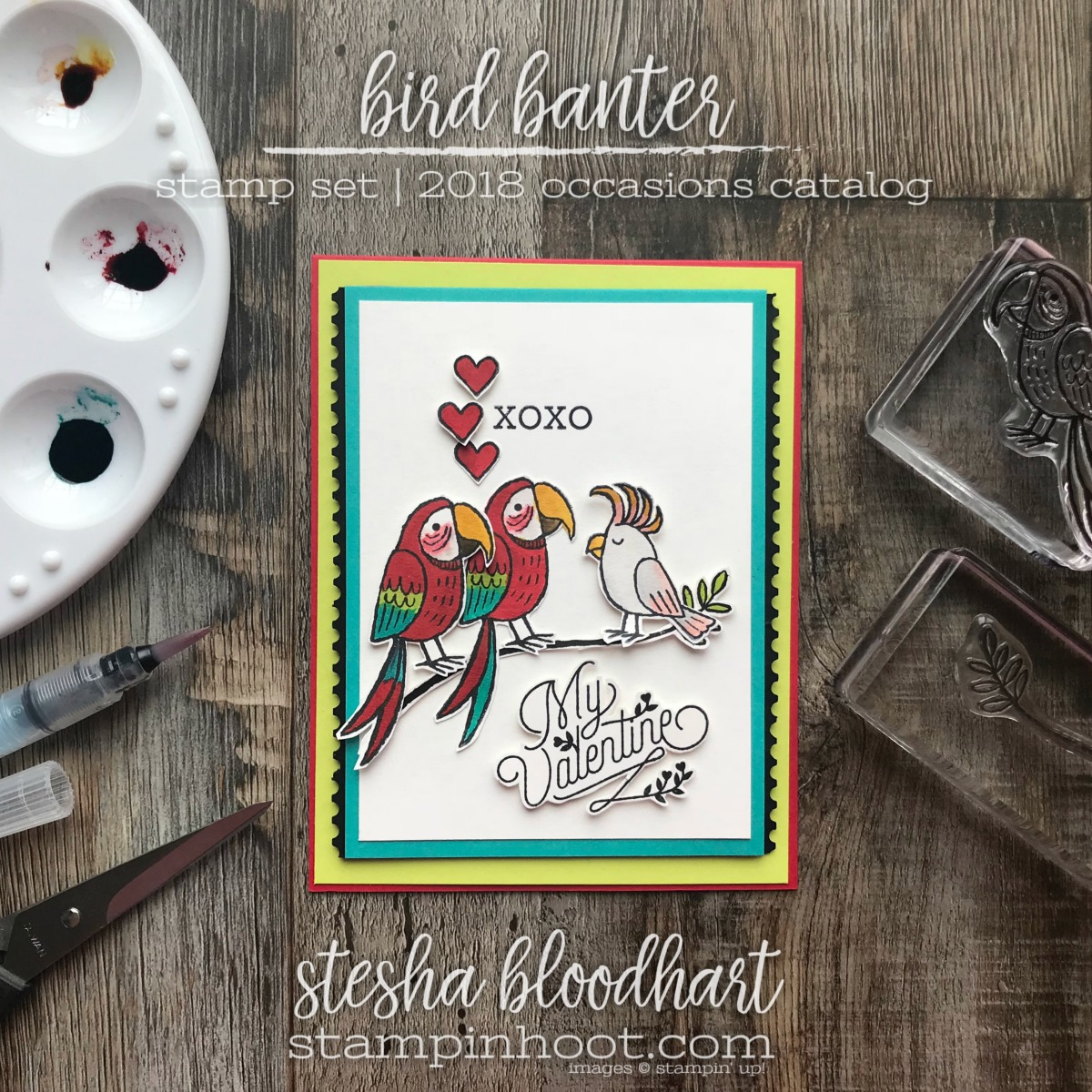 Bird Banter Stamp Set by Stampin' UP! 2018 Occasions Catalog for The Remarkable InkBig Blog Hop: Theme Valentines by Stesha Bloodhart, Stampin' Hoot! #steshabloodhart #stampinhoot
