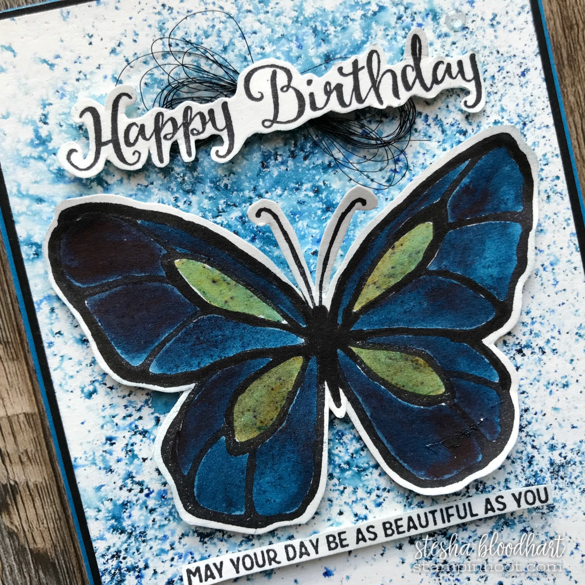 Beautiful Day Stamp Set from 2018 Occasions Catalog using Brusho Color Crystals for Stampin' Sunday Blog Hop by Stesha Bloodhart, Stampin' Hoot! #BRUSHO #steshabloodhart #stampinhoot