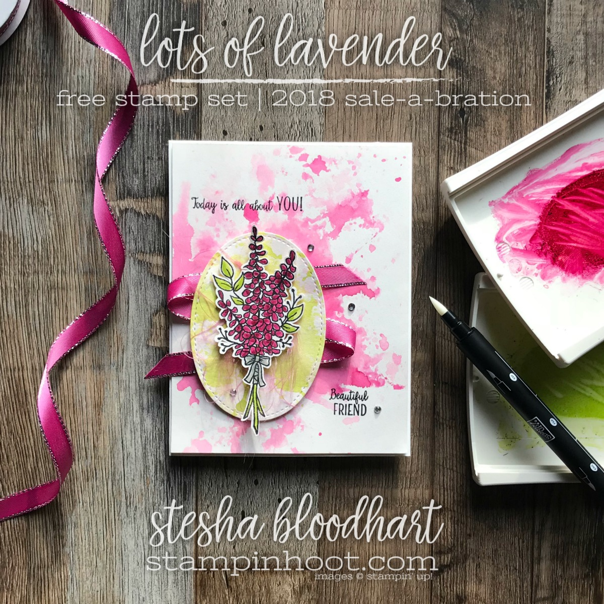 Lots of Lavender Sale-a-Bration Stamp Set FREE with $50 purchase. Shop with Stesha Bloodhart, Stampin' Hoot! #steshabloodhart #stampinhoot #lotsoflavender