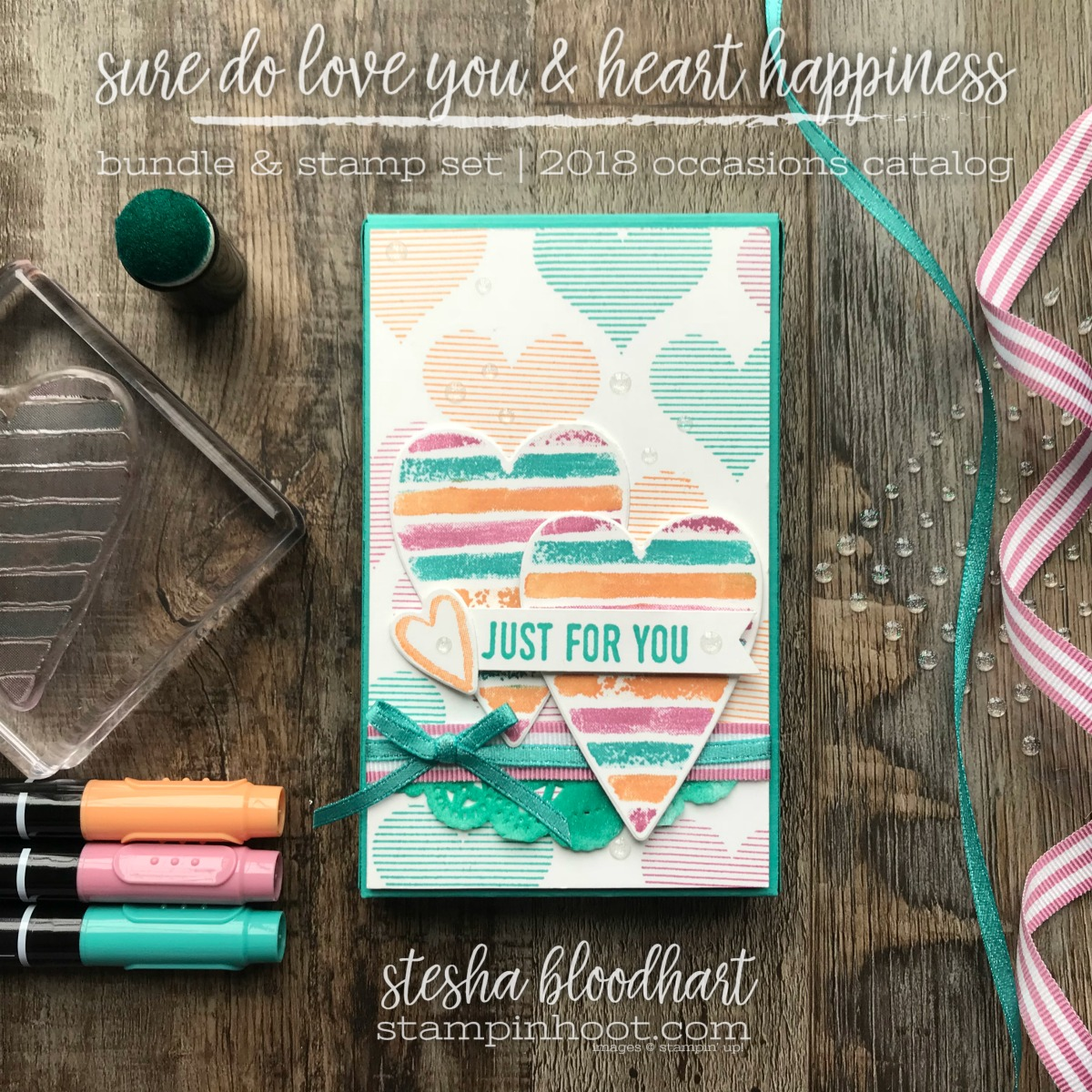 Sure Do Love You Bundle and Heart Happiness Stamp Set by Stampin' Up! for GDP121 Global Design Project 121 Color Challenge #steshabloodhart #stampinhoot #gdp121