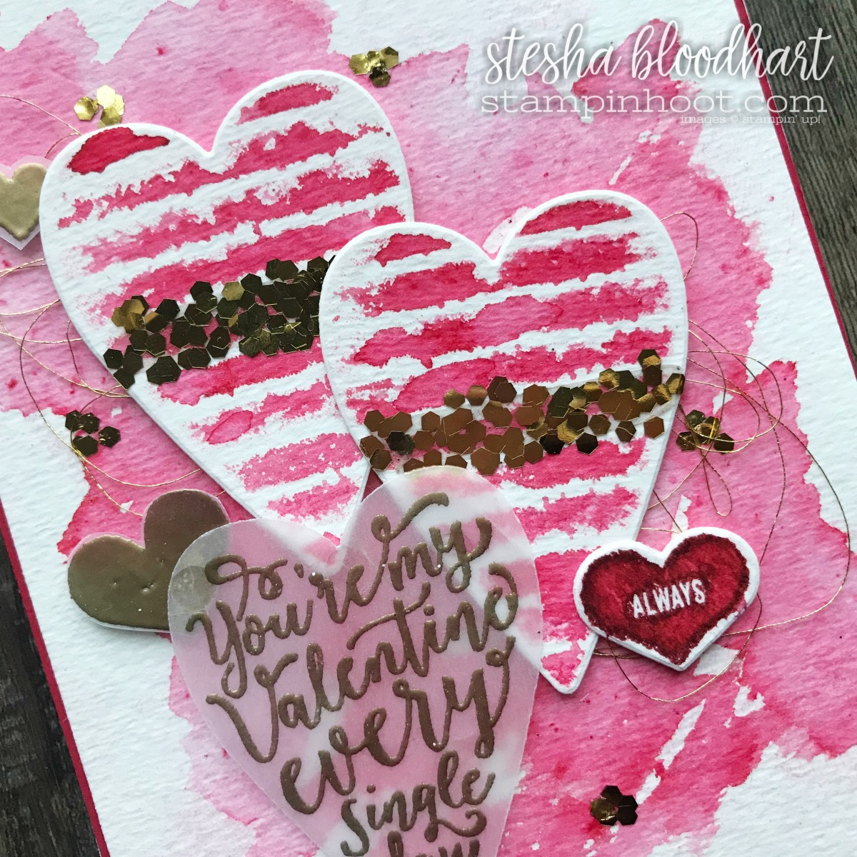 Sure Do Love You Bundle and Heart Happiness Stamp Set from the 2018 Occasions Catalog Card Created for the January 2018 Pals Blog Hop Card Created by Stesha Bloodhart, Stampin' Hoot! #palsbloghop #steshabloodhart #stampinhoot