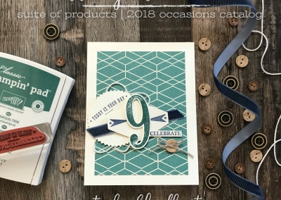 True Gentleman Suite by Stampin' Up! 2018 Occasions Catalog for Global Design Project 120 Happy 9th Birthday #GDP120 #truegentleman #steshabloodhart #stampinhoot