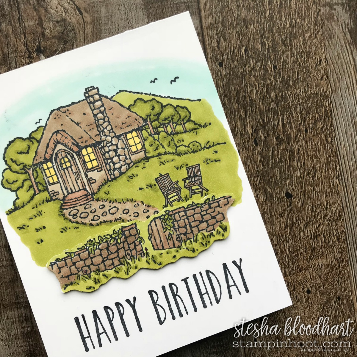 Cozy Cottage Hostess Stamp Set from the 2018 Occasions Catalog by Stampin' Up! Birthday Card Created by Stesha Bloodhart, Stampin' Hoot! #steshabloodhart #stampinhoot