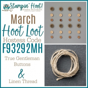 March 2018 Hoot LOOT True Gentleman Buttons and Linen Thread