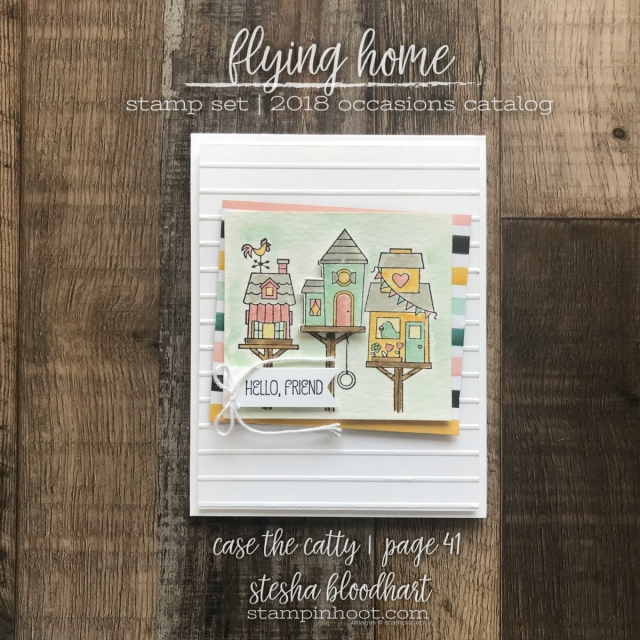 Flying Home Stamp Set by Stampin' Up! from the 2018 Occasions Catalog. Created by Stesha Bloodhart, Stampin' Hoot! Pals Blog Hop - Case the Catty #steshabloodhart #stampinhoot