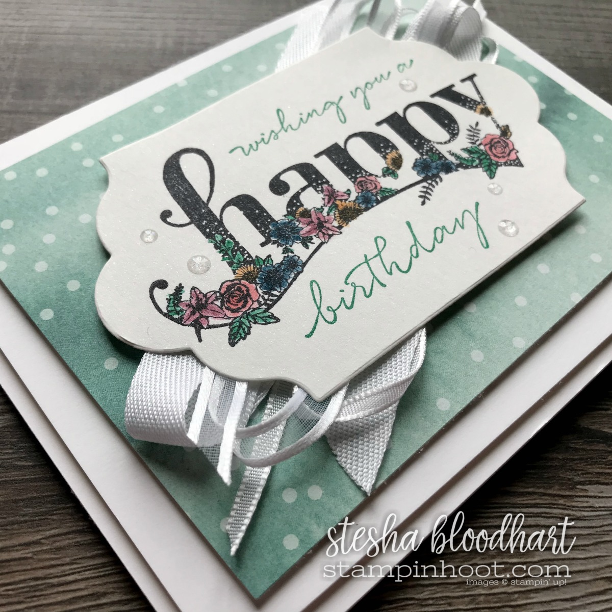 Happy Wishes by Stampin' Up!, A Level 2 Sale-a-Bration Set Free with a $100 Purchase for #tgifc147 Card Created by Stesha Bloodhart, Stampin' Hoot! #steshabloodhart #stampinhoot