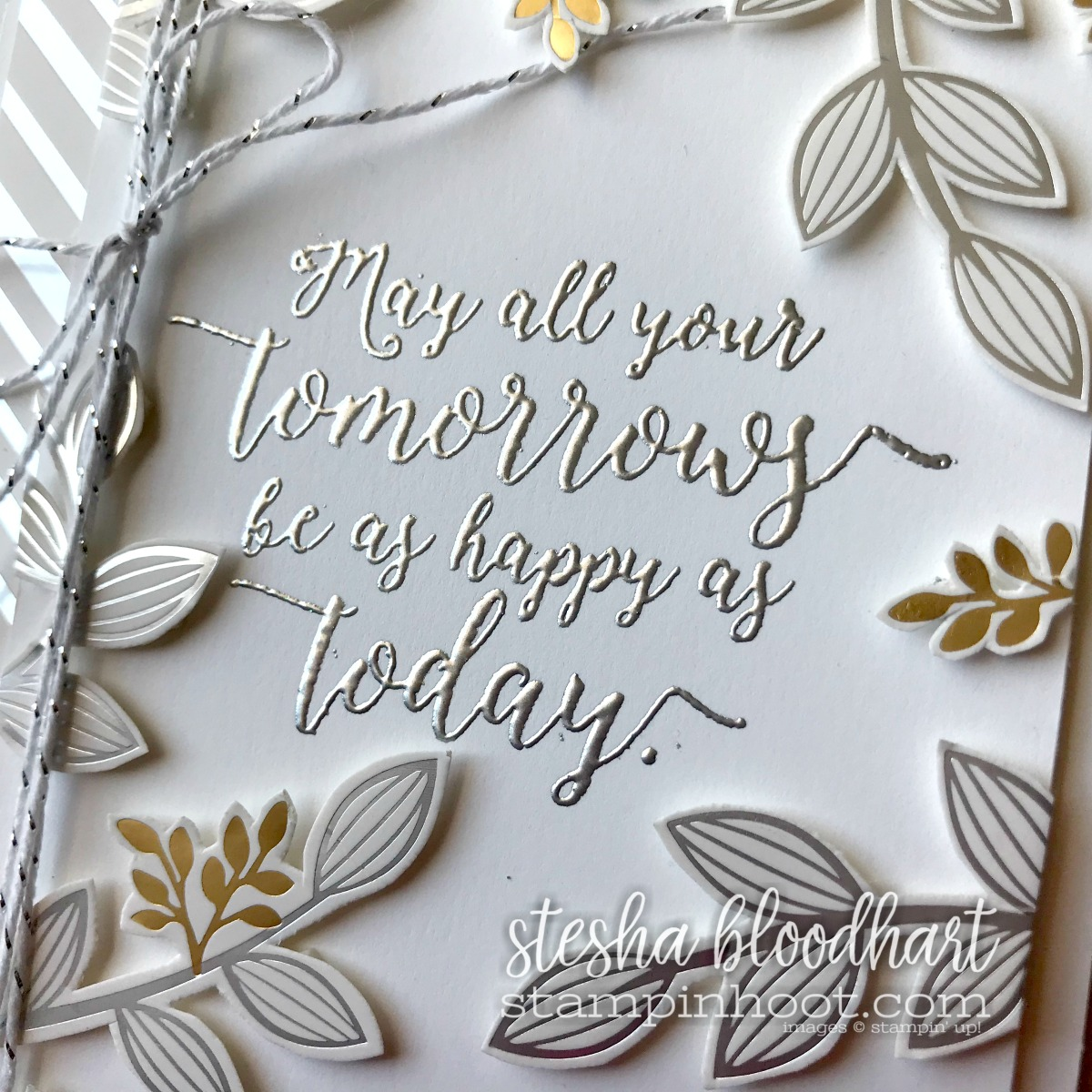 Springtime Foils Designer Series Paper FREE 2018 Sale-a-Bration Item with a $50 Purchase. Card created by Stesha Bloodhart, Stampin' Hoot! #steshabloodhart #stampinhoot