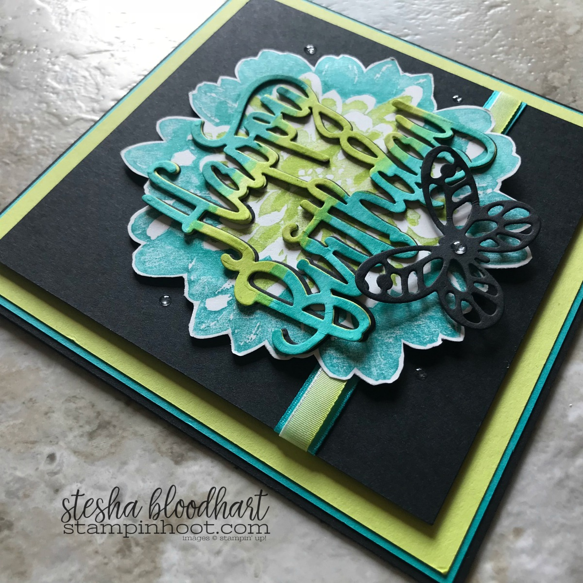 Definitely Dahlia Background Stamp by Stampin' Up! for #tgifc152 Technique Time - Marker Direct to Stamp Card by Stesha Bloodhart, Stampin' Hoot! #steshabloodhart #stampinhoot